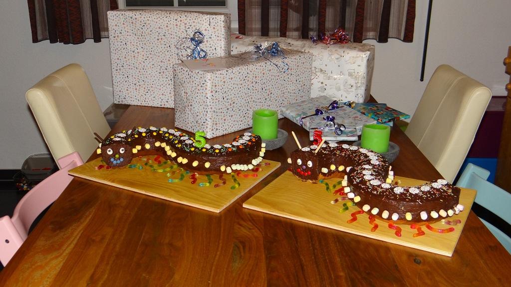 Geburtstag mit Raupenkuchen