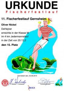 Fischerfestlauf Urkunde 2014