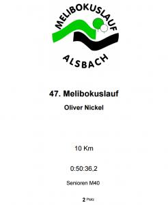 Urkunde Melibokuslauf 2016